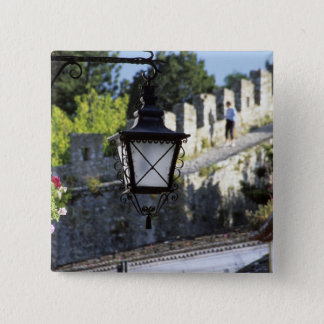Portugal, Obidos. Iron streetlamp and 14th Pinback Button