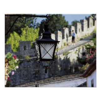 Portugal, Obidos. Iron streetlamp and 14th Poster