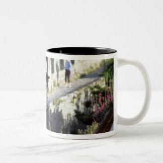 Portugal, Obidos. Iron streetlamp and 14th Two-Tone Coffee Mug