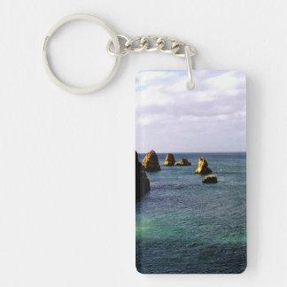 Portugal Ocean - Teal & Azure Paradise Single-Sided Rectangular Acrylic Keychain