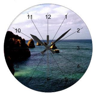 Portugal Ocean - Teal & Azure Paradise Large Clock