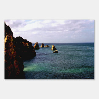 Portugal Ocean - Teal & Azure Paradise Lawn Sign