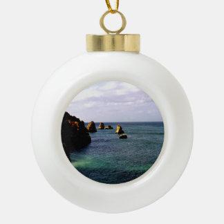 Portugal Ocean, Teal & Azure Paradise Sea Ceramic Ball Christmas Ornament