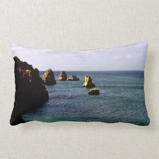 Portugal Ocean, Teal & Azure Paradise Sea Lumbar Pillow