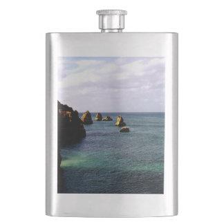 Portugal Ocean, Teal & Azure Paradise Sea Hip Flask