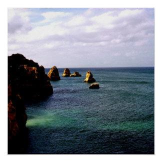 Portugal Ocean, Teal & Azure Paradise Sea Poster
