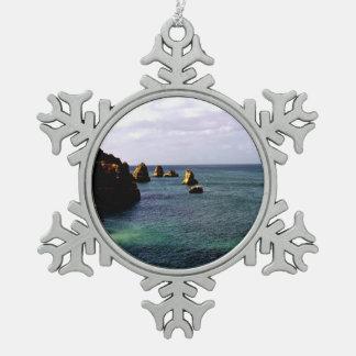 Portugal Ocean, Teal & Azure Paradise Sea Snowflake Pewter Christmas Ornament