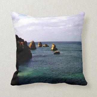 Portugal Ocean, Teal & Azure Paradise Sea Throw Pillow