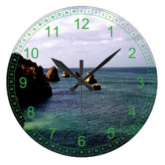 Portugal Ocean - Teal & Azure Paradise Wall Clocks