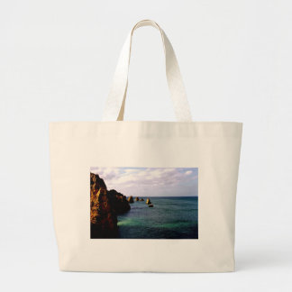 Portugal Oceanscape - Teal & Azure Paradise Large Tote Bag
