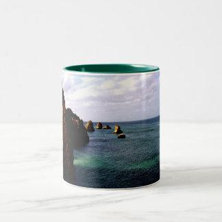 Portugal Oceanscape - Teal & Azure Paradise Two-Tone Coffee Mug