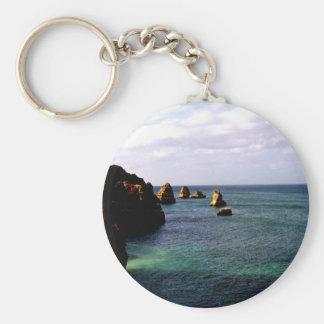 Portugal Oceanscape - trullo y paraíso del azul Llavero Redondo Tipo Pin