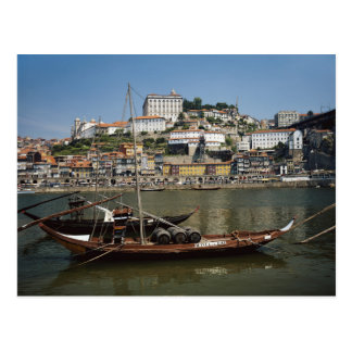 Portugal, Oporto, barco con los barriles de vino Postal