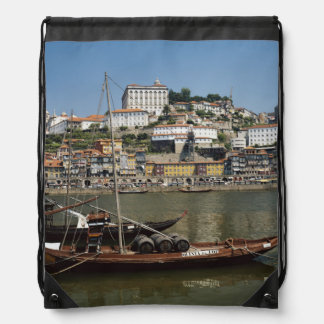 Portugal, Porto, Boat With Wine Barrels Drawstring Backpack
