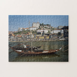 Portugal, Porto, Boat With Wine Barrels Jigsaw Puzzle
