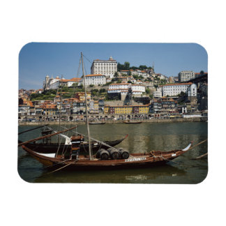 Portugal, Porto, Boat With Wine Barrels Magnet