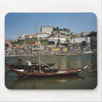 Portugal, Porto, Boat With Wine Barrels Mouse Pad