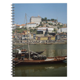 Portugal, Porto, Boat With Wine Barrels Spiral Notebook