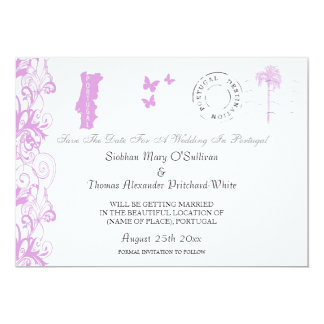 Portugal Save The Date In Plum And White Personalized Invitation
