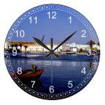 Portugal Seaside I - Sapphire & Crimson Magic Round Wall Clocks