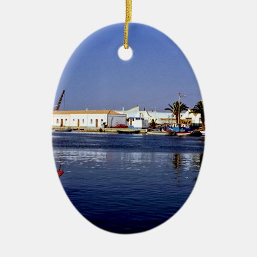 Portugal Seaside I - Sapphire & Crimson Magic Double-Sided Oval Ceramic Christmas Ornament