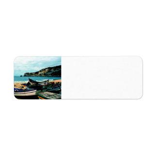 Portugal Seaside IV - Colorful Boats Beach full Return Address Label