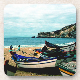 Portugal Seaside IV - Colorful Boats on the Beach Beverage Coaster