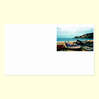 Portugal Seaside IV - Colorful Boats on the Beach Double-Sided Standard Business Cards (Pack Of 100)