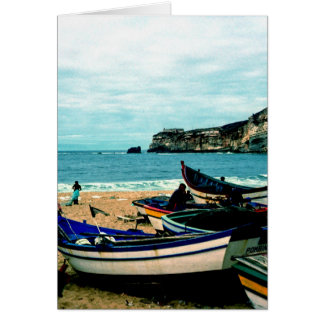 Portugal Seaside IV - Colorful Boats on the Beach Greeting Card