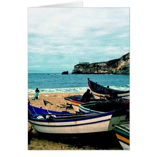 Portugal Seaside IV - Colorful Boats on the Beach Card