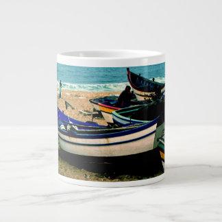 Portugal Seaside IV - Colorful Boats on the Beach Giant Coffee Mug