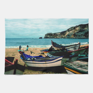 Portugal Seaside IV - Colorful Boats on the Beach Kitchen Towel