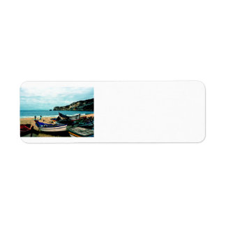 Portugal Seaside IV - Colorful Boats on the Beach Return Address Label