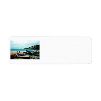 Portugal Seaside IV - Colorful Boats on the Beach Custom Return Address Labels