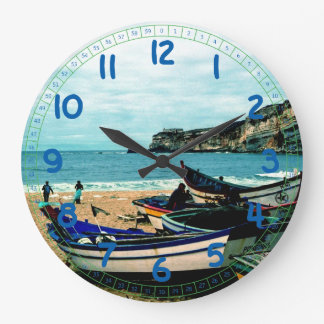 Portugal Seaside IV - Colorful Boats on the Beach Large Clock