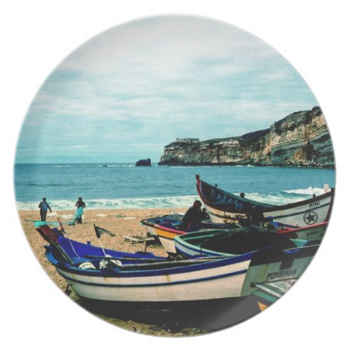 Portugal Seaside IV - Colorful Boats on the Beach Melamine Plate
