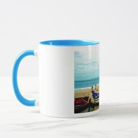 Portugal Seaside IV - Colorful Boats on the Beach Mug