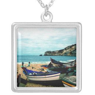 Portugal Seaside IV - Colorful Boats on the Beach Custom Jewelry