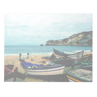 Portugal Seaside IV - Colorful Boats on the Beach Notepad