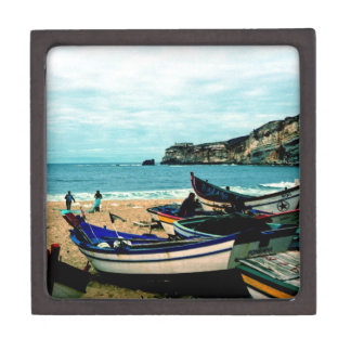 Portugal Seaside IV - Colorful Boats on the Beach Premium Jewelry Box