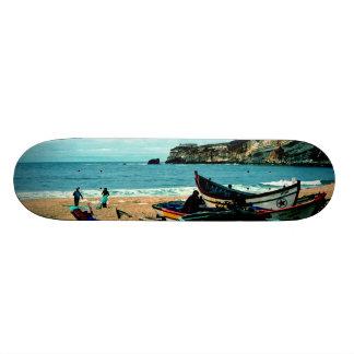 Portugal Seaside IV - Colorful Boats on the Beach Skateboard