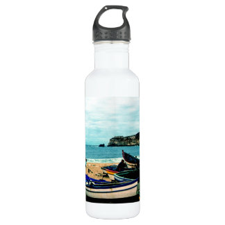 Portugal Seaside IV - Colorful Boats on the Beach Stainless Steel Water Bottle