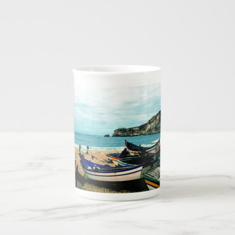 Portugal Seaside IV - Colorful Boats on the Beach Tea Cup