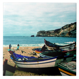 Portugal Seaside IV - Colorful Boats on the Beach Tile