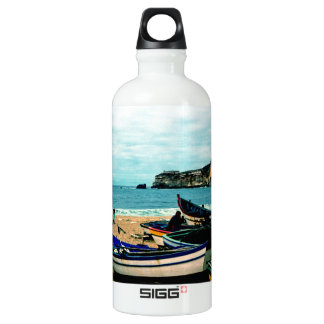 Portugal Seaside IV - Colorful Boats on the Beach Water Bottle