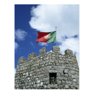 Portugal, Sintra. Portuguese flag on tower of Postcard