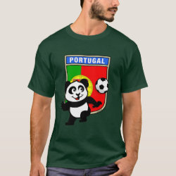 Men's Basic Dark T-Shirt with Portugal Football Panda design