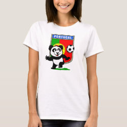 Women's Basic T-Shirt with Portugal Football Panda design