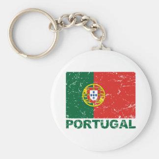 Portugal Vintage Flag Basic Round Button Keychain