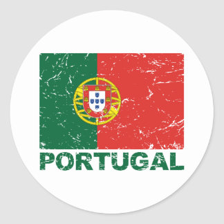 Portugal Vintage Flag Classic Round Sticker